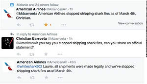 american airlines shark fish shippping ban
